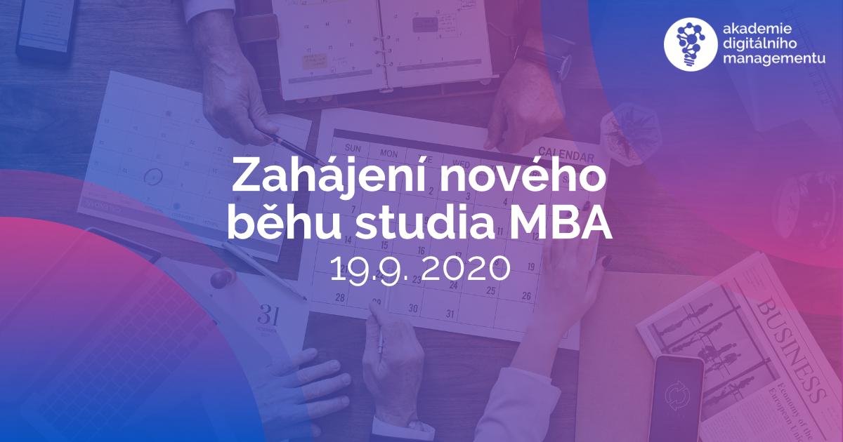 Zahájení nového běhu studia MBA již 19. 9. 2020